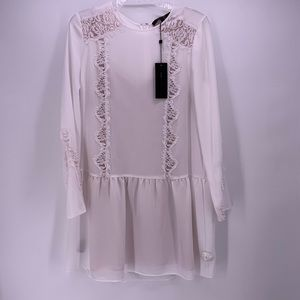 BCBG White Lace Long Sleeve Dress S